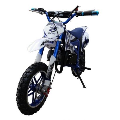 Mini Moto Dirt Cross Azul Gasolina Partida Elétrica 2t 49cc DB005