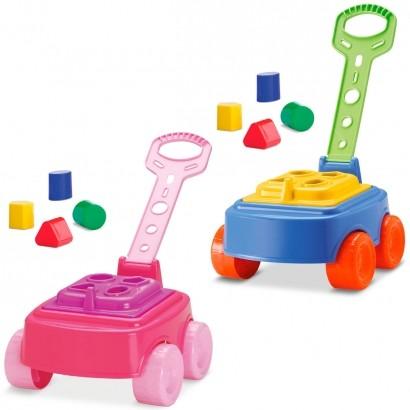 Carrinho Infantil Bebê Criança Para Puxar com Blocos Mipuxa Cardoso Toys