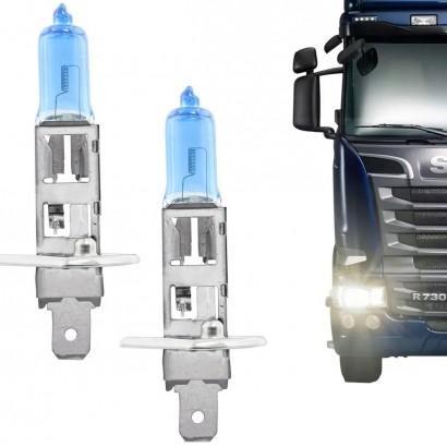 Par de Lâmpada Automotiva Super Branca H1 24V 70W 4200K Efeito Xênon Caminhão