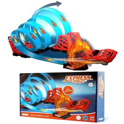 Pista Express Wheels Extreme Action com 4 Loop 360 Com Carrinho e 24 Peças Multikids BR1019