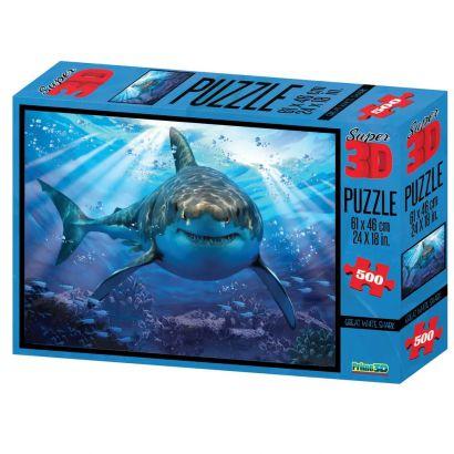 Quebra Cabeça Super 3D Tubarão C/500 Peças BR1054