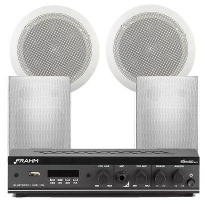 Receiver Amplificador Slim 800 App + 2 Caixa Ps200 Branca + 2 Arandela Redonda