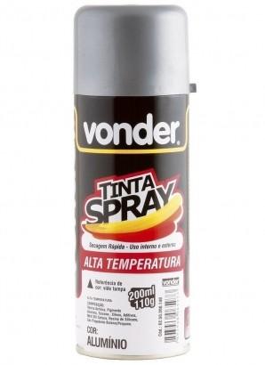 Spray Tinta Vonder Alta Temperatura Alumínio 200 Ml Vonder