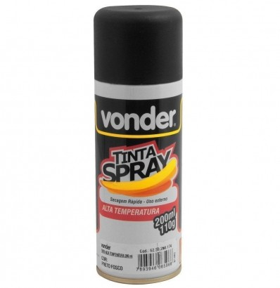 Spray Tinta Vonder Alta Temperatura Preto 200 Ml Vonder