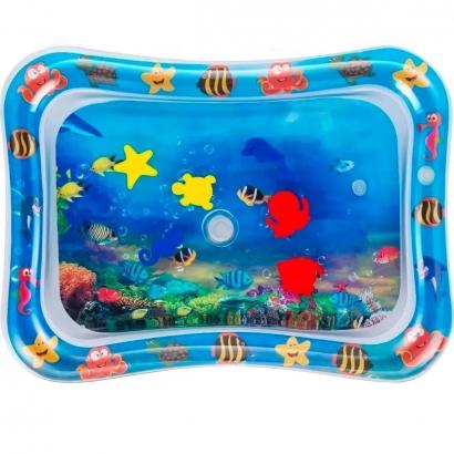 Tapete de Agua Inflável Bebê +3 Meses Divertido Brincar de Bruços Fundo do Mar Kababy