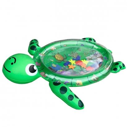 Tapete de Agua Inflável Bebê +3 Meses Divertido Brincar de Bruços Tartaruga Kababy