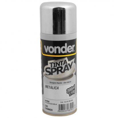 Tinta Spray Cromado Multiuso Tinta Metálica 200ml Vonder