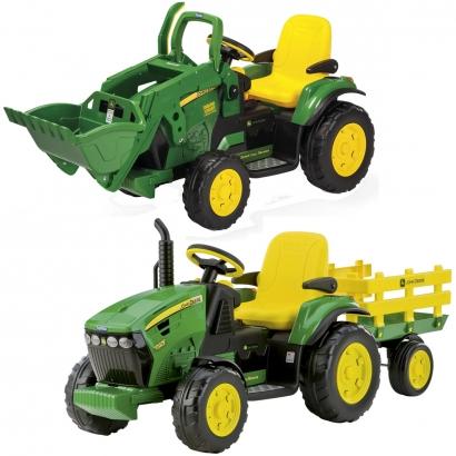 Trator Infantil Elétrico Criança Carrinho Com Pá ou Carretinha 3 Anos até 40 Kg John Deere Ground Force Loader 12V Peg Perego