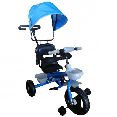 Triciclo Infantil de Ferro Com Capota Solar 2 Anos Até 25 Kg Barra Guia Sininho Brinqway Azul