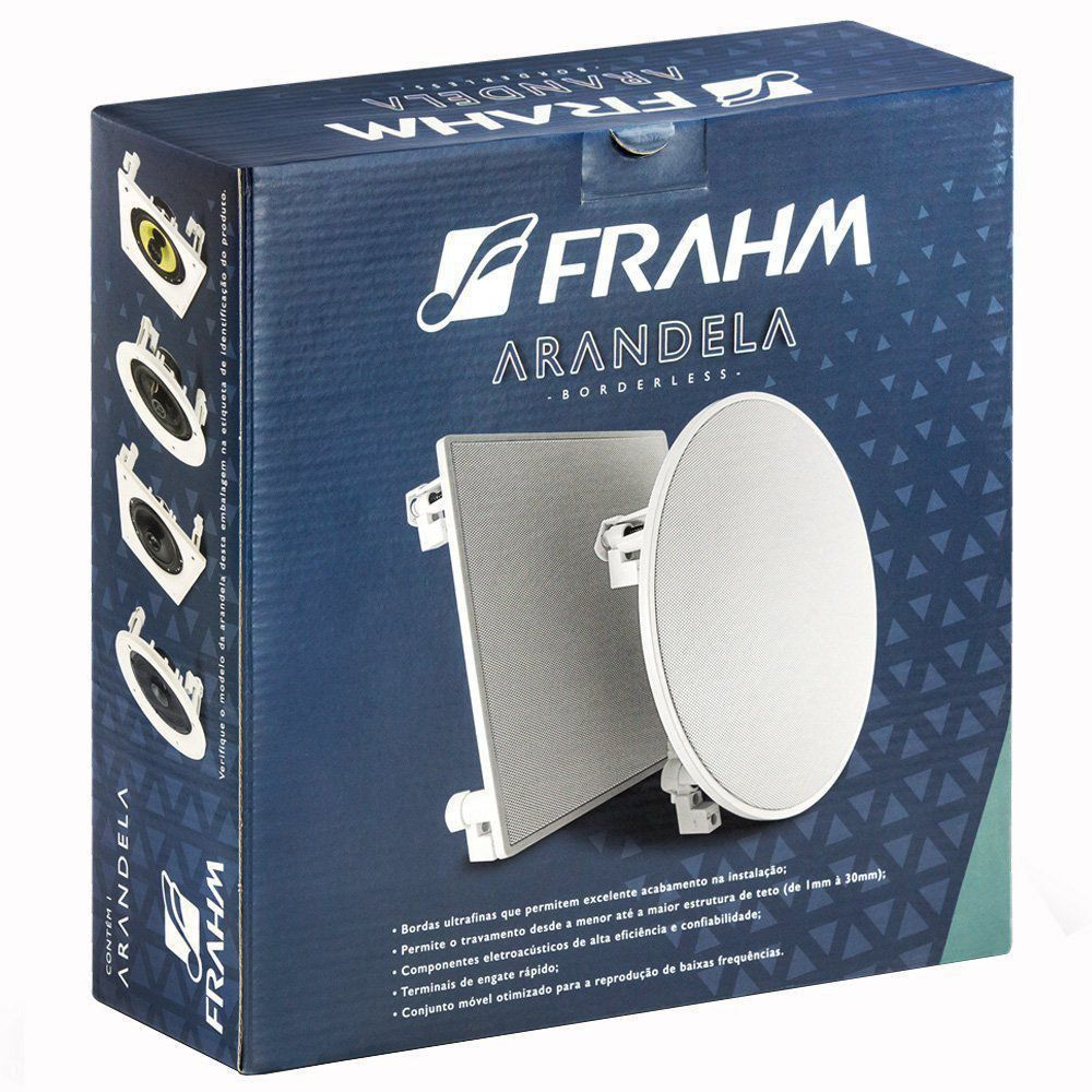 "Arandela Quadrada 6"" Full Range Embutir Borderless 40W RMS Som Ambiente Frahm"