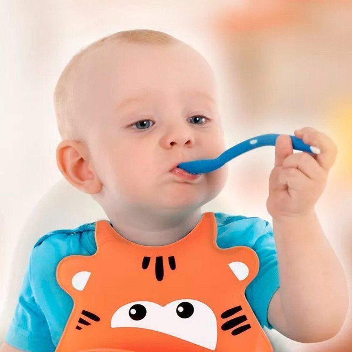 Babador De Silicone Para Bebê Impermeavel Leão Multilaser