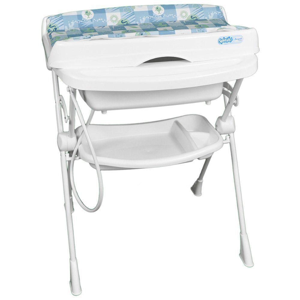 Banheira Banho Bebê Com Suporte Trocador e Redutor Splash Peixinhos Azul - Burigotto