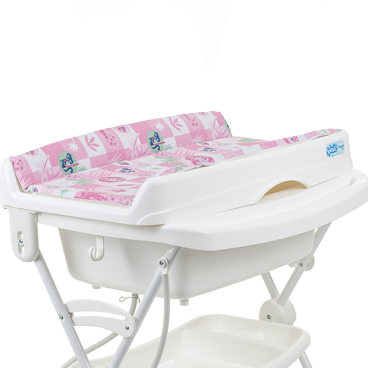 Banheira Banho Bebê Com Suporte Trocador e Redutor Splash Peixinhos Rosa - Burigotto