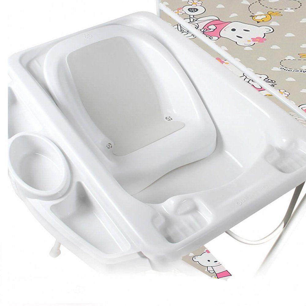Banheira Para Bebê Com Trocador Suporte 0 Até 15Kg Máximo 20 Litros Luxo Galzerano Ursinha
