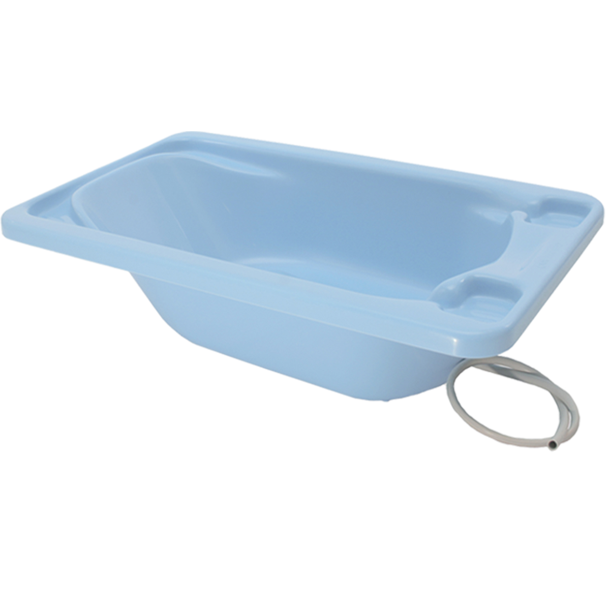 Banheira Para Bebê Galzerano Azul Até 20Kg Com Mangueira + Suporte Branco