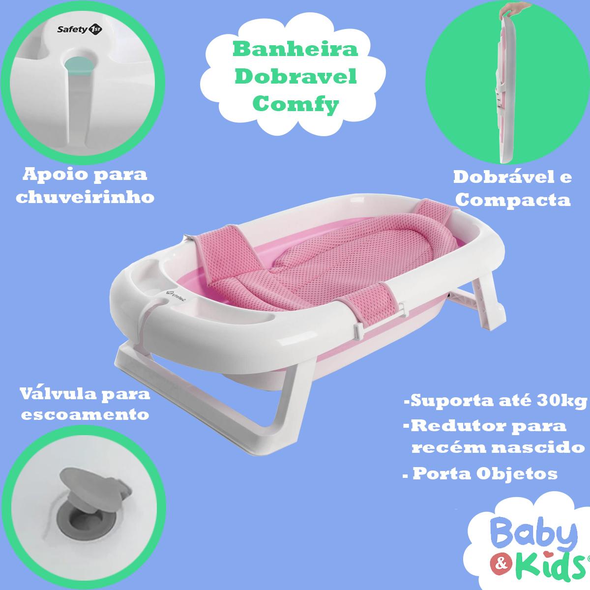 Banheira de Bebê Com Redutor Dobrável De 0 a 36 Meses Comfy Safe Safety 1St Rosa