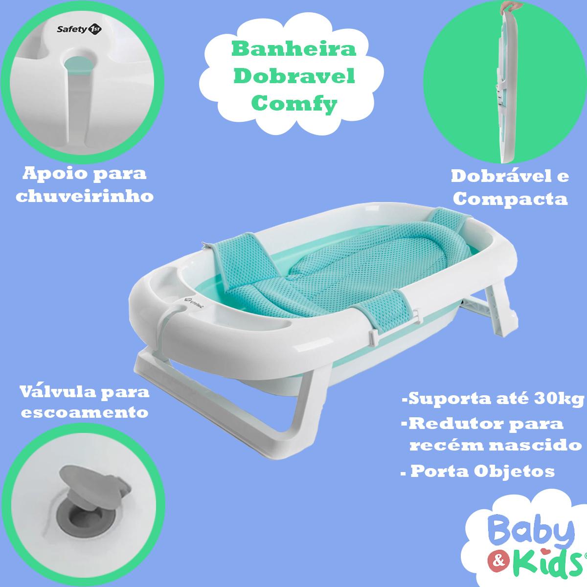 Banheira de Bebê Com Redutor Dobrável De 0 a 36 Meses Comfy Safe Safety 1St Verde