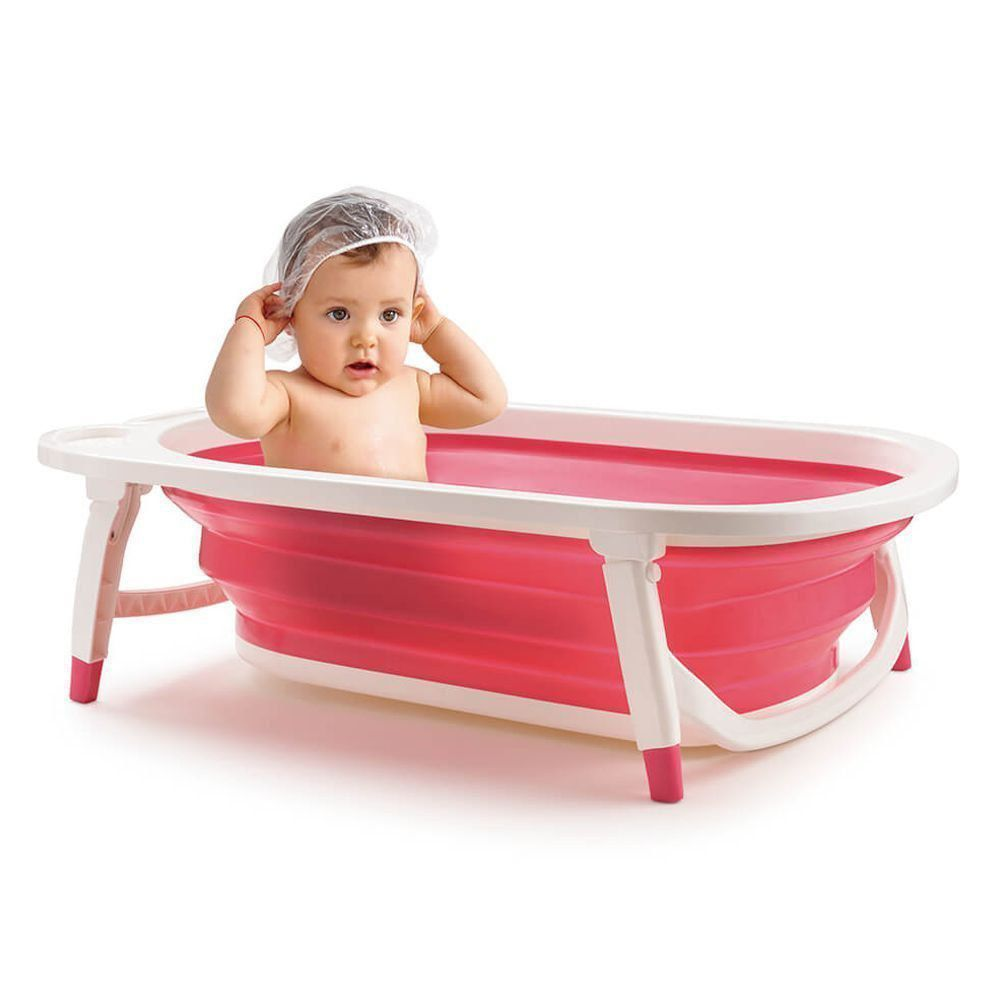Banheira Dobravel Para Bebê Rosa Flexi Bath Menina Bb160