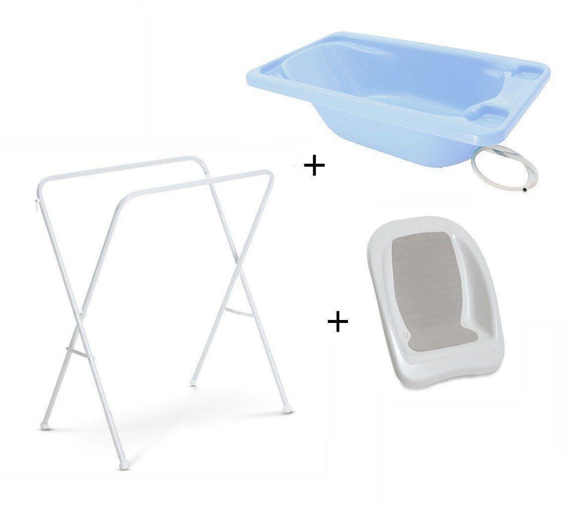 Banheira Para Bebe Plastica Azul Suporte Galzerano E Redutor