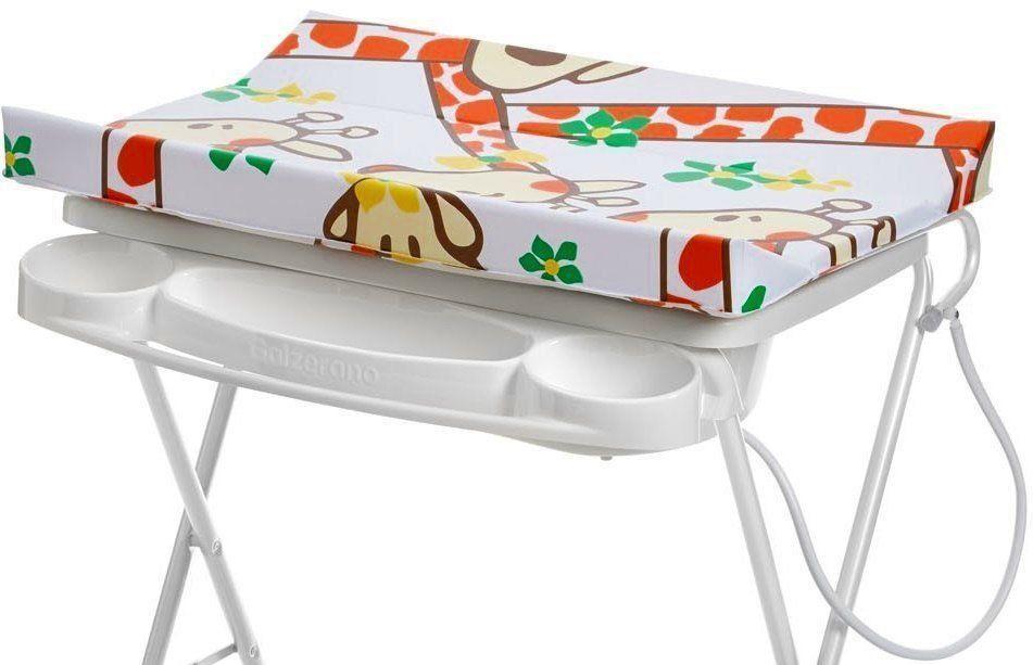 Banheira Para Bebê Com Trocador Suporte 0 Até 15Kg Máximo 20 Litros Luxo Galzerano Girafas