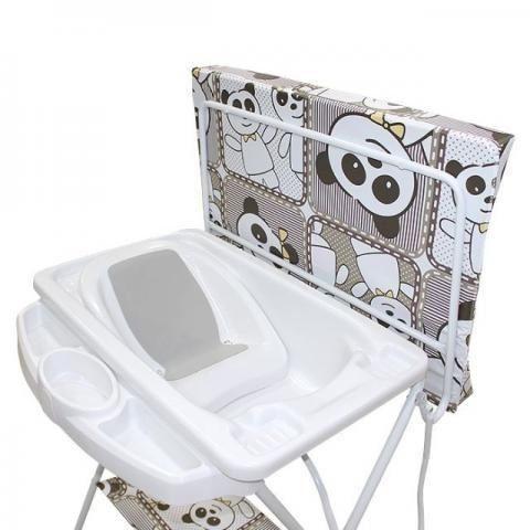 Banheira Para Bebê Com Mangueira + Redutor + Trocador + Suporte 0 Até 15Kg Máximo 20 Litros Luxo Galzerano Panda