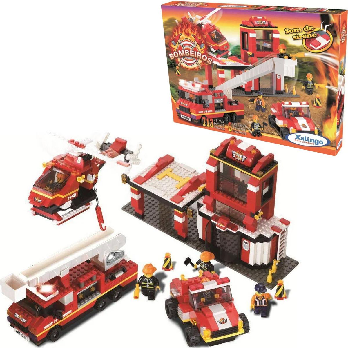 Blocos de Montar Bombeiros Caminhão 713 peças 06387