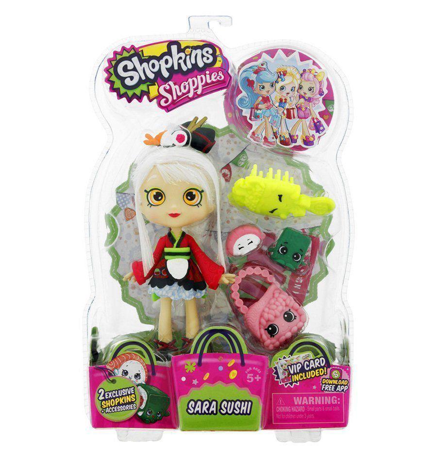 Boneca Shopkins Shoppies Sara Sushi + 2 Shopkins Exclusivos DTC 3735