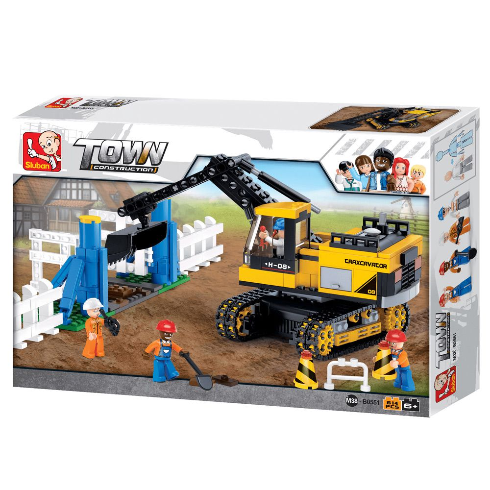 Brinquedo Blocos de Contrução Escavadeira BR830 614 Peças Multikids