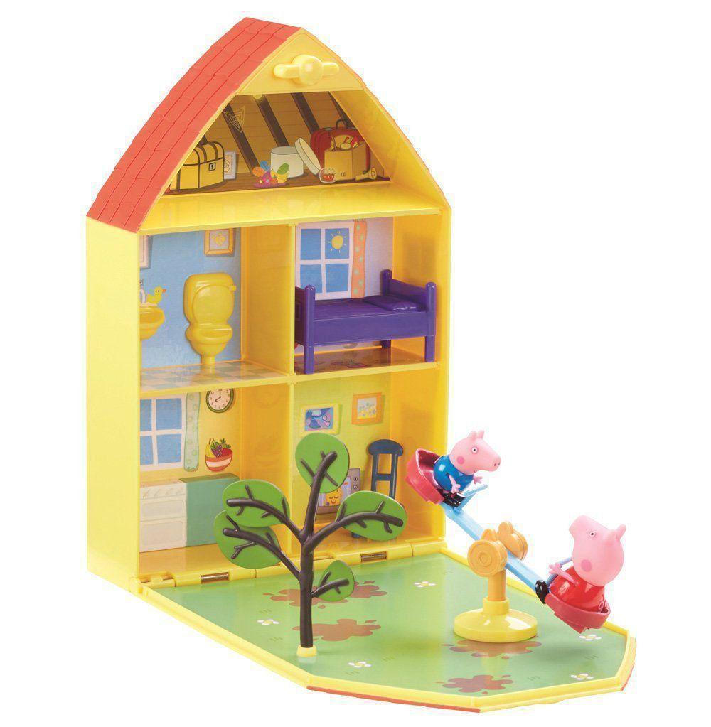 Casa Peppa Pig E George Jardim Gangorra Maleta Cenário Dtc 4206