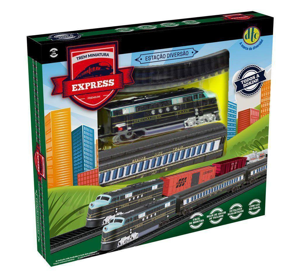 Trezinho Dtc Brinquedo Miniatura Com Farol Vagão E Trilhos DTC 4163