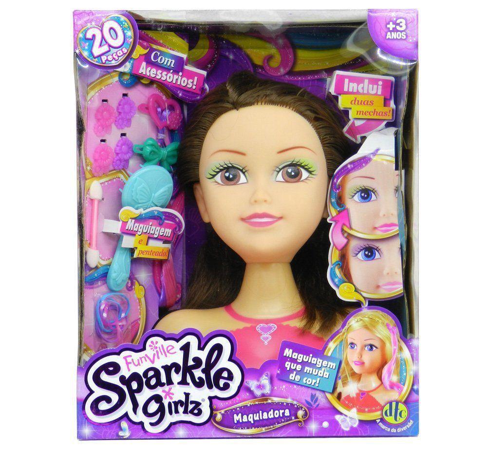 Busto Para Maquiagem Boneca Funville Sparkle Girlz Morena Dtc 4222