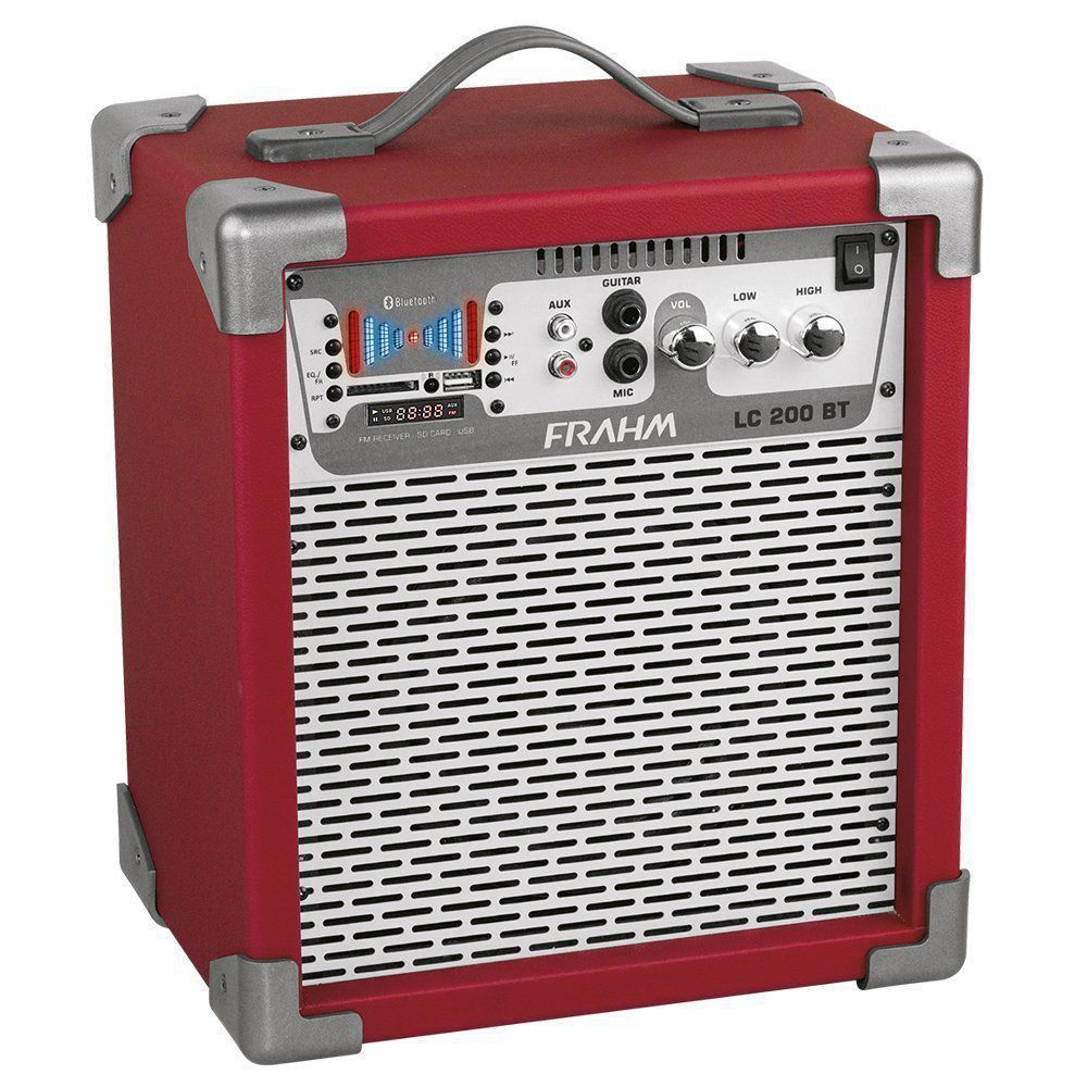 Caixa Amplificada LC200 Bluetooth Vermelha 50W Frahm