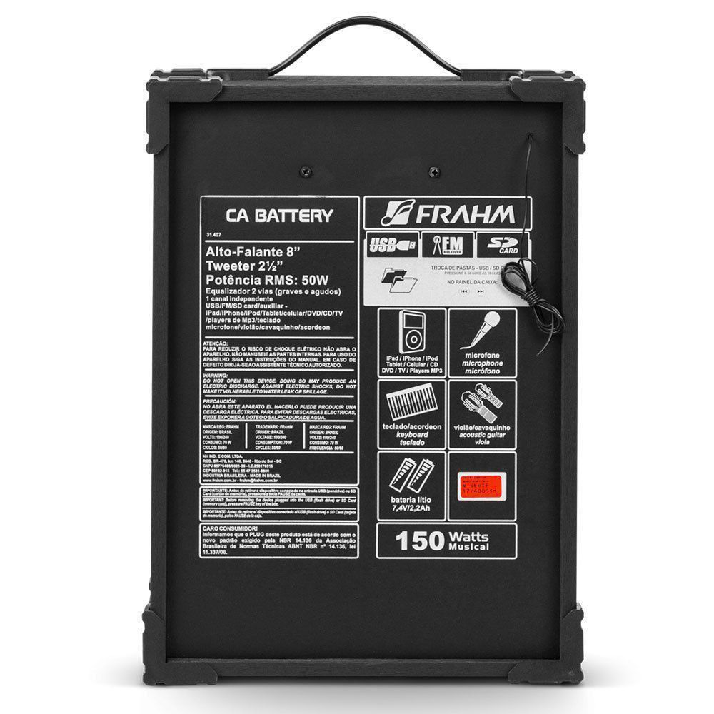 Caixa Amplificada Multiuso Frahm Ca Battery 50w Rms Usb Sd