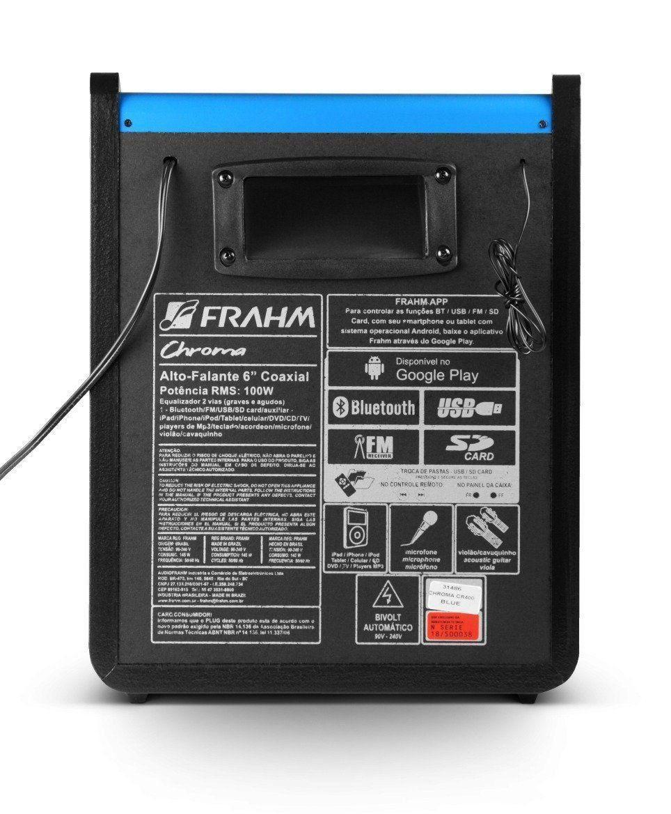 Caixa Amplificada Multiuso Frahm Chroma Azul Bluetooth Cr400