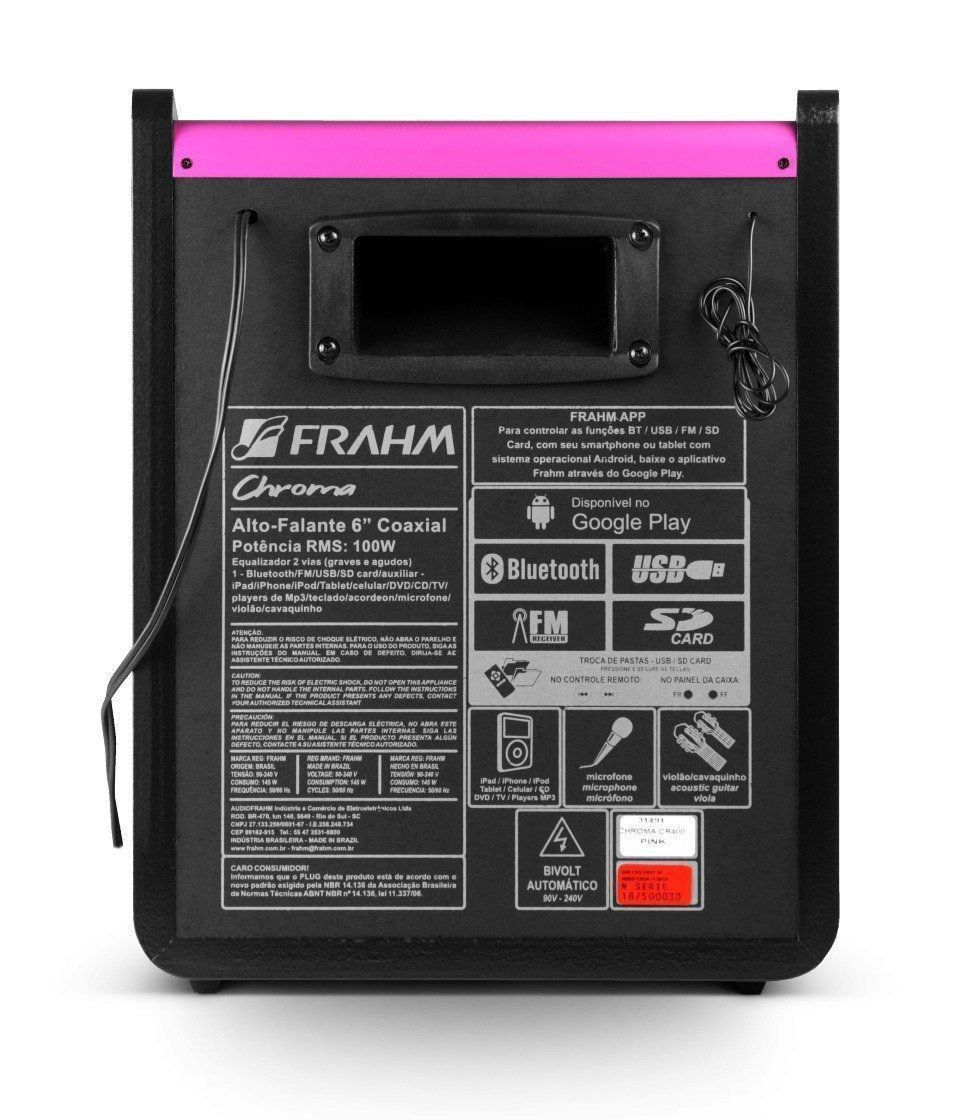 Caixa Amplificada Multiuso Frahm Chroma Pink Bluetooth Cr400