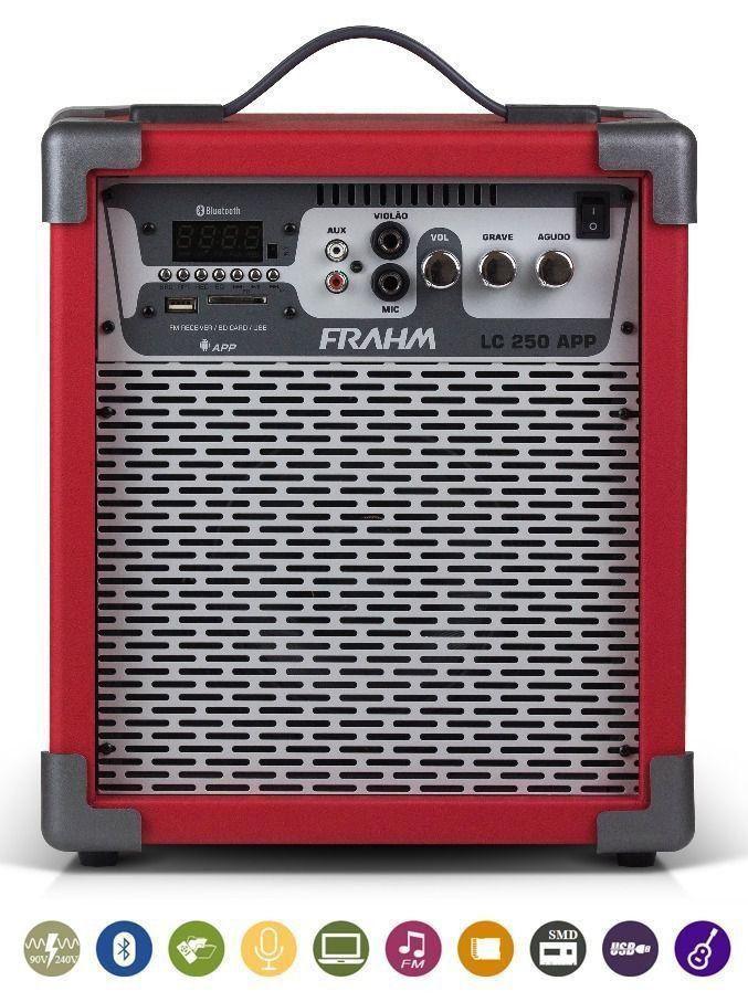 Caixa Amplificada Multiuso Frahm Lc 250 App Vermelha 60w Rms