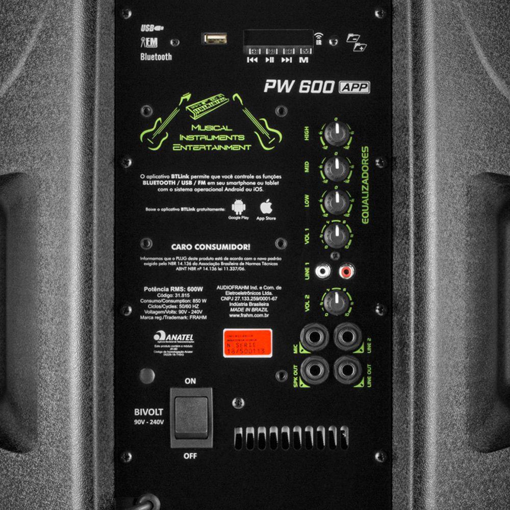 Caixa Ativa Amplificada Frahm Pw 600 Conexão Wireless