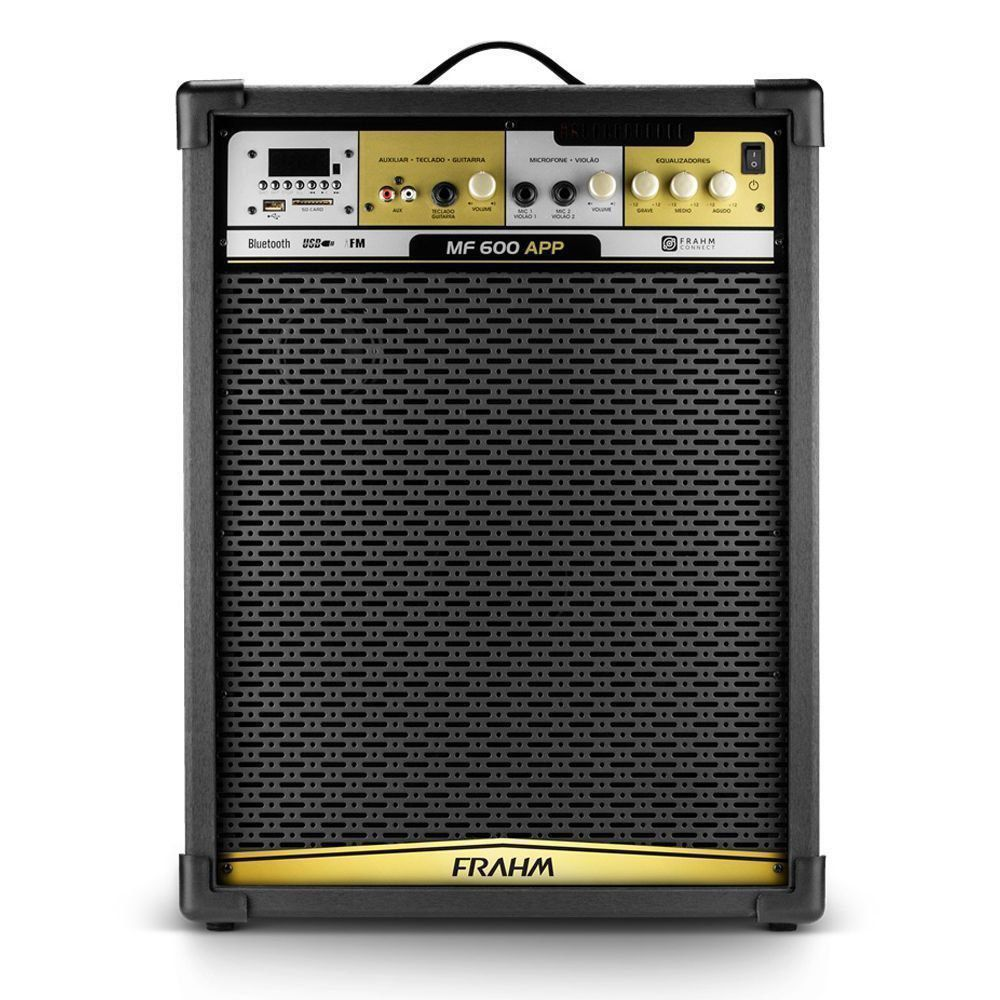Caixa De Som Amplificada 500w rms Frahm Mf600 App Bluetooth Usb Sd Fm