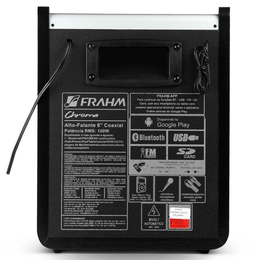 Caixa De Som Frahm Chroma Silver Amplificada USB BT CR400