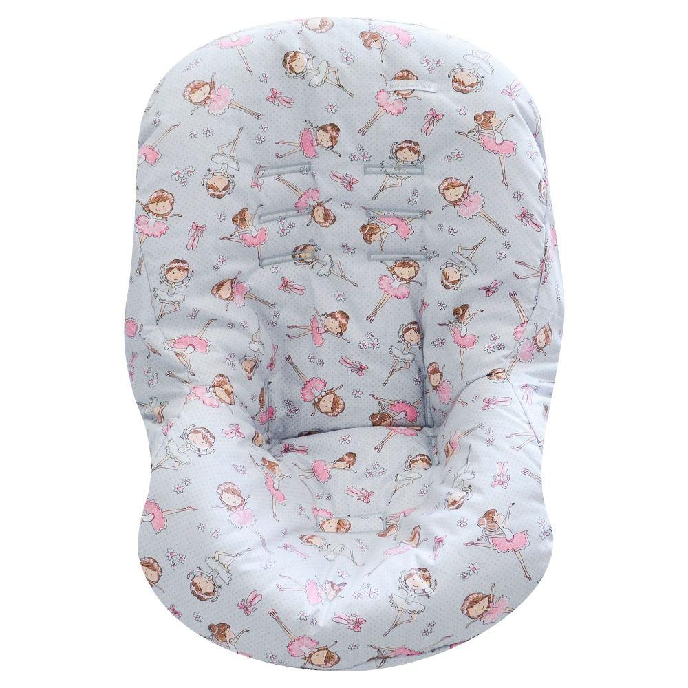 Capa de Bebe Conforto Tecido Estampa De Bailarina Cinza/Rosa