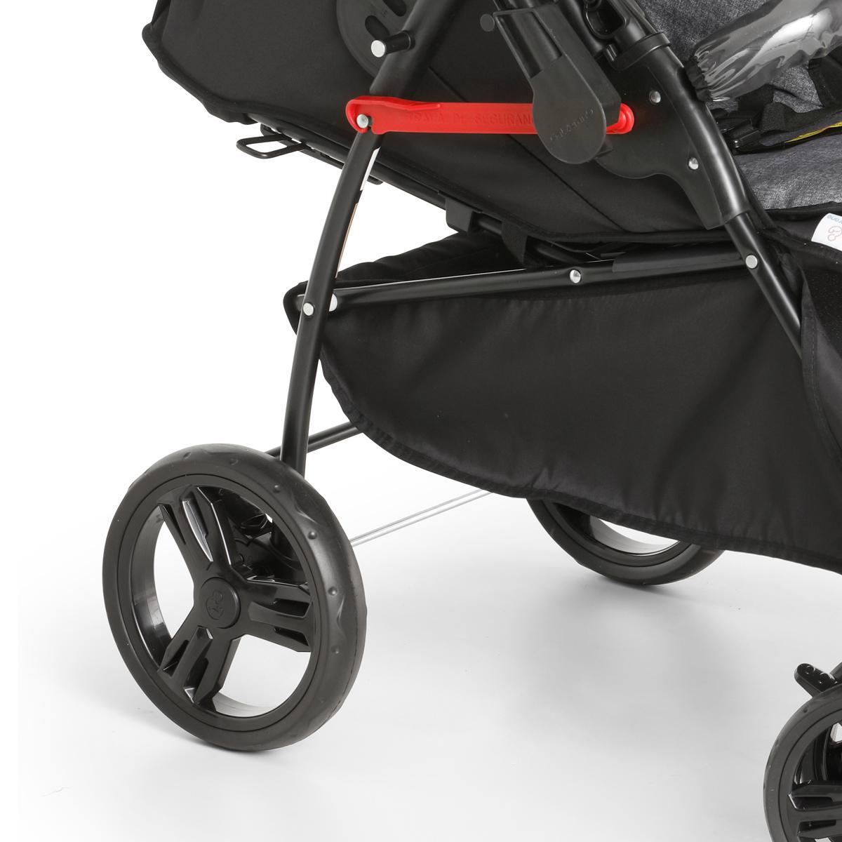 Carrinho de Bebê Galzerano Passeio 2 em 1 Reversivel 0 Até 15 Kg 4 Posições Maranello II Galzerano Preto Cinza