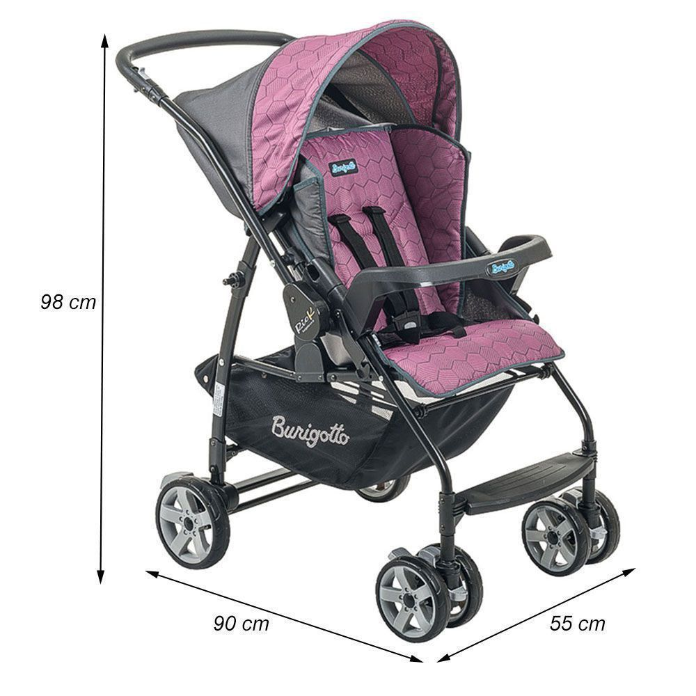 Carrinho de Bebê Burigotto Rio K Reversível Rosa IXCA2056PR56