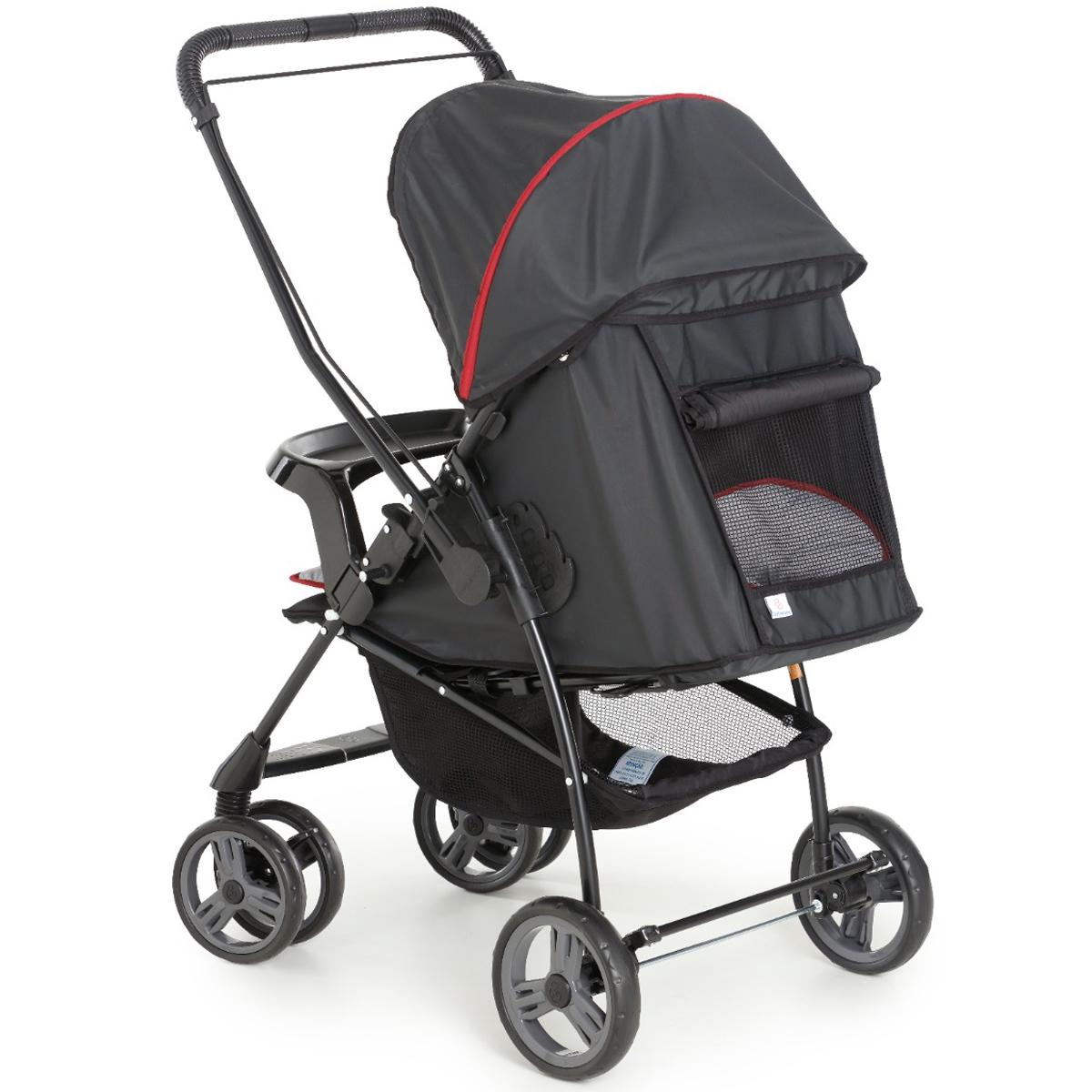 Carrinho de Bebê Galzerano Até 15Kg Passeio Berço Travel System Alça Reversível 0 Até 15Kg Milano Preto