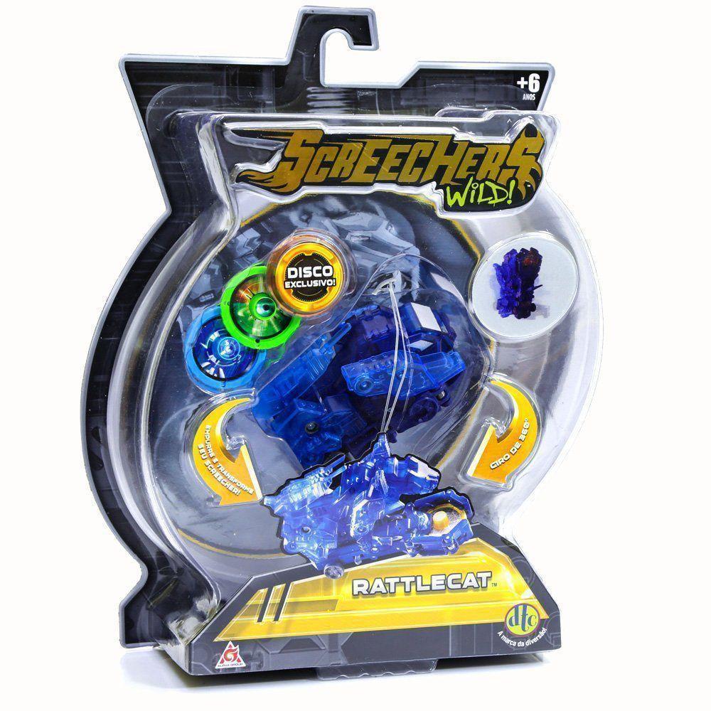 Carrinho Screechers Wild Rattlecat Com 3 Discos 4719