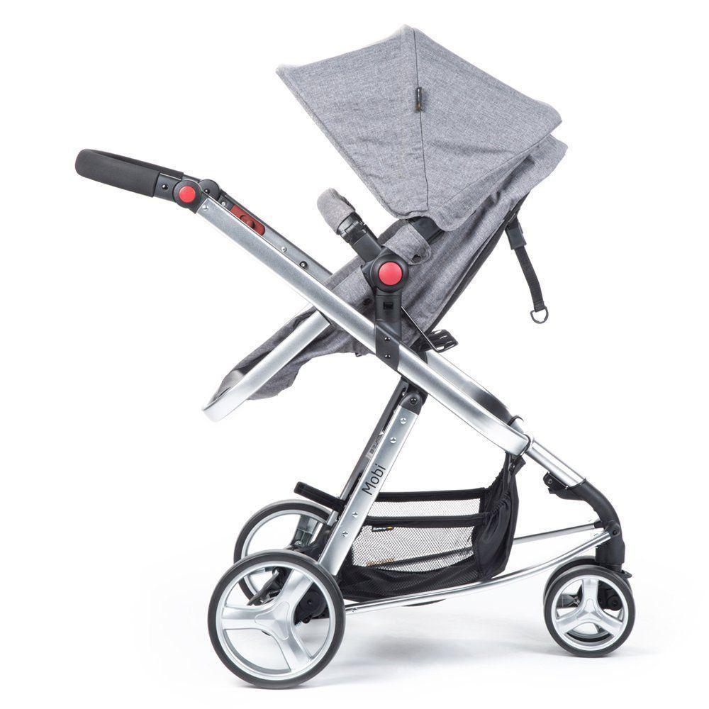 Carrinho de Bebê Travel System Mobi Grey Denim Silver com Bebê Conforto e Base
