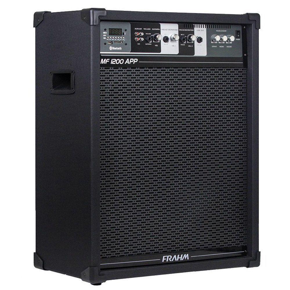 Caxia Amplificada MF1200 APP USB Bluetooth SD FM FRAHM