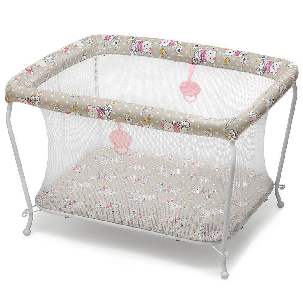 Berço Cercado Com Tela Para Bebê Galzerano Ursinha Até 13kg 3005UR