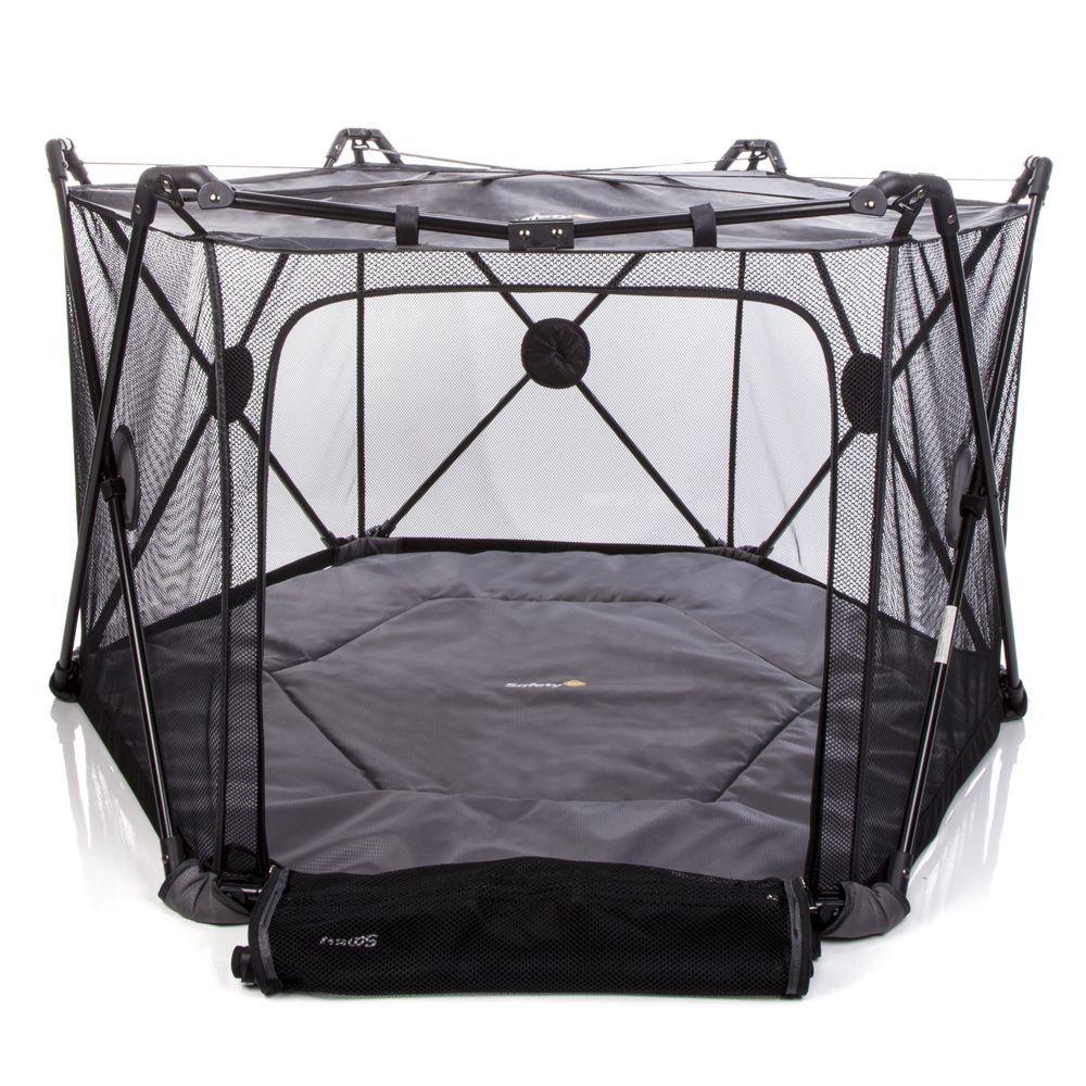 Cercado de Bebê Até 89 Cm Toca Acesso Lateral Compacto Colchonete Macio Bolsa Transporte My Place Safety 1st Black