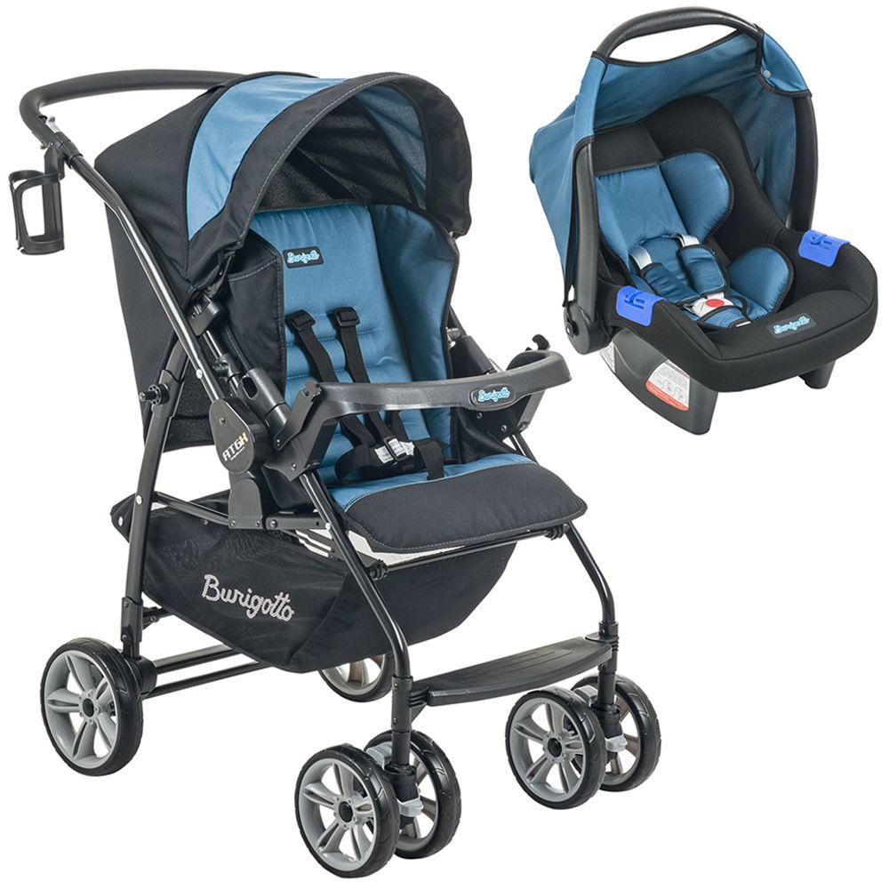 Conjunto Burigotto Carrinho de Bebê AT6 K Com Bebê Conforto Touring Evolution SE Preto e Azul IXCJ4015PR06