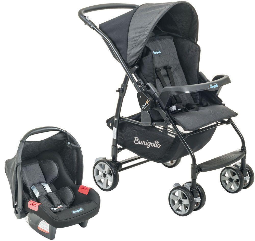Conjunto Carrinho de Bebê Rio K Reversível Azul + Bebê Conforto Touring SE GEO Preto